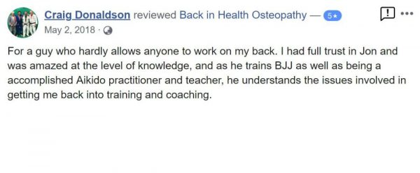 Craig Donaldson recommends Dr Jon Marshall at Back In Health Osteopathy - Facebook Reviews