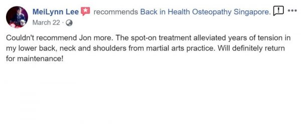 Mei Lynn Lee recommends Dr Jon Marshall at Back In Health Osteopathy Singapore - Facebook Review
